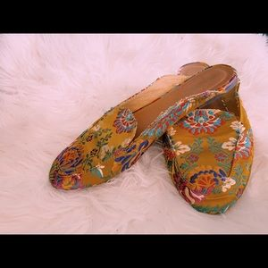 Yellow floral embroidered mules